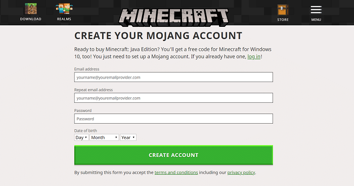 Create Minecraft Account