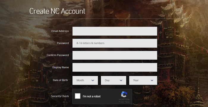 Create NC Account for Blade and Soul