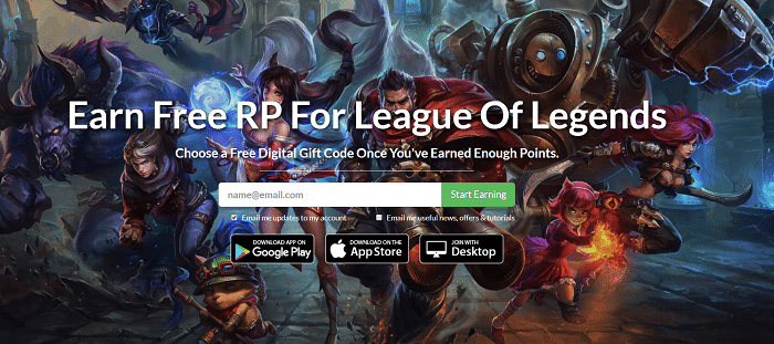Earn Free RP For League Of Legends
