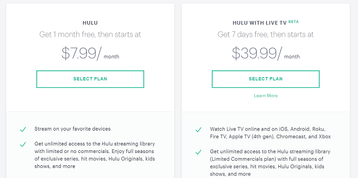 Subscription Plans of Hulu