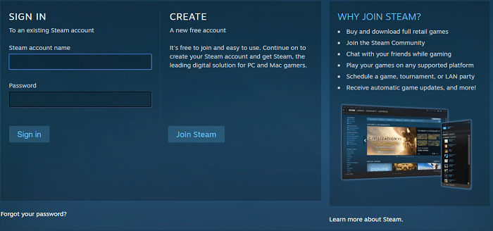 Create free steam account